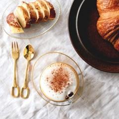Gold ring dessert spoon & fork