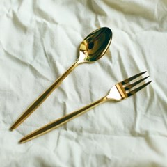 Gold slim dessert spoon & fork