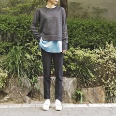 [츄츄츄 츄즈미] 셔츠 배색 라운드 스웨터
