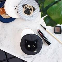[콩피튀르] Happy Face 해피 페이스 라운드 파우치 - 블랙캣