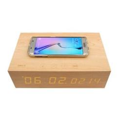 블루투스스피커 무선충전 우드 LED 나무 알람시계