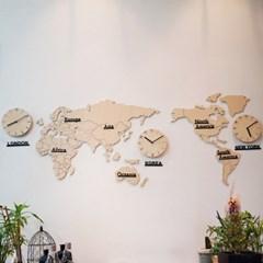 자작나무 세계지도 시계(중)/무소음 벽시계