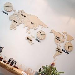 자작나무 세계지도 시계(소)/무소음 벽시계