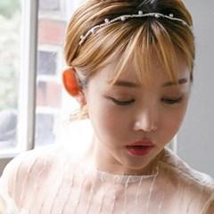 웨이브 크리스탈 진주 머리띠