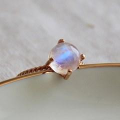 레인보우 문스톤 클로버 반지 rainbow moonstone quartz clover ring