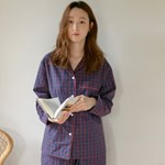 [w] Navy & Red Check PJ Set