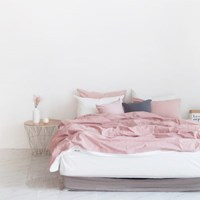 N 에스타도 천연염색 양면침구 - 인디핑크&화이트 (더블/퀸)