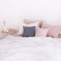 N 에스타도 천연염색 양면침구 - 인디핑크&화이트 (싱글/슈퍼싱글)