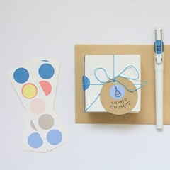 5 circle sticker (blue-beige)