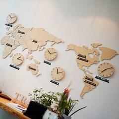 자작나무 세계지도 시계(특대)/무소음 벽시계