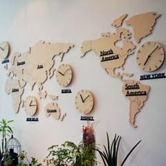 자작나무 세계지도 시계(대)/무소음 벽시계