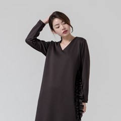 RUFFLE JERSEY DRESS_BROWN