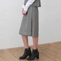 Hound check midi wrap skirt