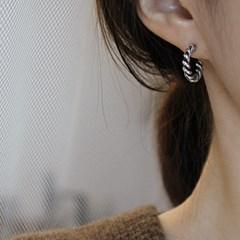 볼드 꼬임 실버 링귀걸이 bold twist silver ring-earring