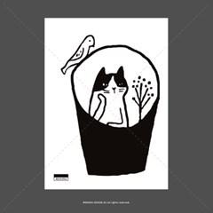 일본 인테리어 디자인 포스터 M 레이디캣