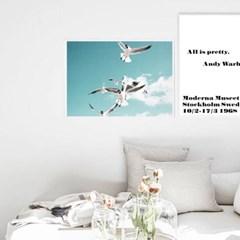 북유럽 인테리어 거실액자 풍경사진 포스터 갈매기 해변