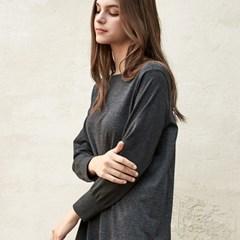 N7WFD5010 멜란지 롱슬리브 변형핏 드레스