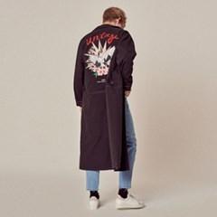 UTO-SC03 두루미 자수 로브 코트 자켓[black(UNISEX)]