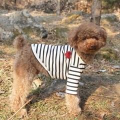 마이하트 스트라이프 강아지 티셔츠_네이비