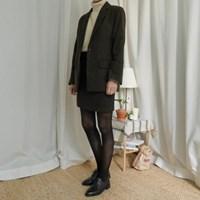 딥 헤링본 미니 스커트 (2-COLORS)