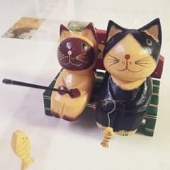 고양이소품 큐티 낚시하는고양이 목각인형