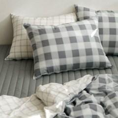 Bedding set (cotton) - 42 Gray check Q(퀸)