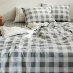 Bedding set (cotton) - 42 Gray check SS(슈퍼싱글)