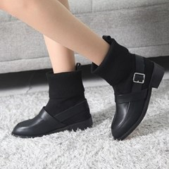 kami et muse Knit cuffs belted ankle boots_KM17w168