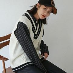 boxy pattern knit vest