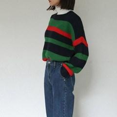 deep color stripe knit