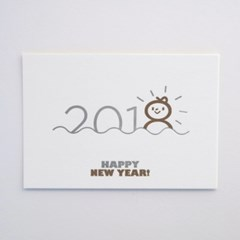 2018 해피 뉴 이어 Happy New Year! 레터프레스 엽서