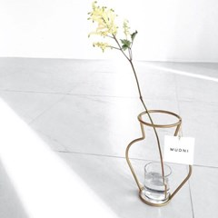 NUDE VASE ( H200-GOLD ) + GLASS VASE