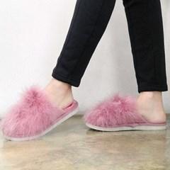 kami et muse Soft long fur lovely slippers_KM17w197