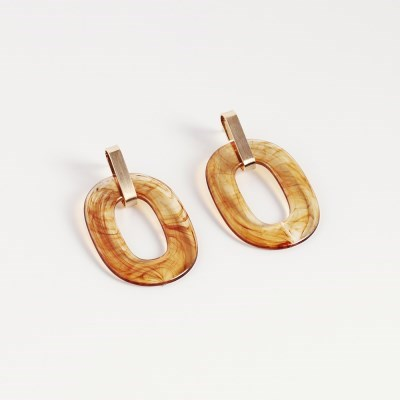 brown texture oval earring