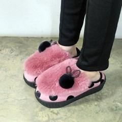 kami et muse Dot fur wedge slippers_KM17w210