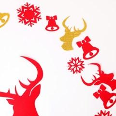 크리스마스 월데코장식-사슴(레드)