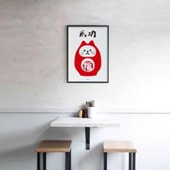 일본 인테리어 디자인 포스터 M 성공 네코다루마상 일본소품