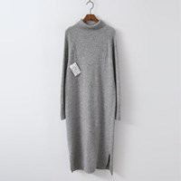 Hoega Cashmere Wool Turtleneck Long Dress