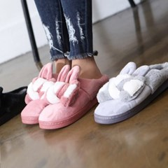 kami et muse Over ribbon fur slippers_KM17w275