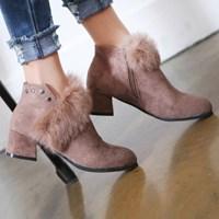 kami et muse Stud point fur ankle boots_KM17w274