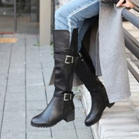 kami et muse Double belted fur long boots_KM17w273