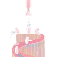 초갸집 안에서 핑크빛을 내보내는 초갸들