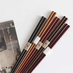 민무늬 컬러 젓가락 5P