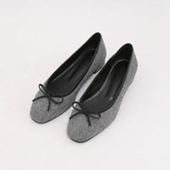 Pattern ribbon flat shoes