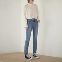 light blue slim straight pants