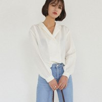 double button puff sleeve blouse
