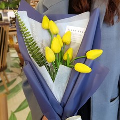 노란튤립 조화꽃다발