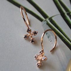 아이올라이트 십자가 드롭 귀걸이 iolite cross drop earring