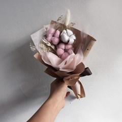 '시들지 않는 생화' 프리저브드 핑크 목화 미니꽃다발