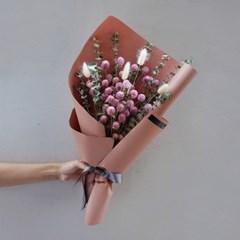 드라이플라워 - 천일홍 유칼립투스 꽃다발